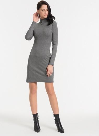 Styletag Dik Yakalı Elbise Gri